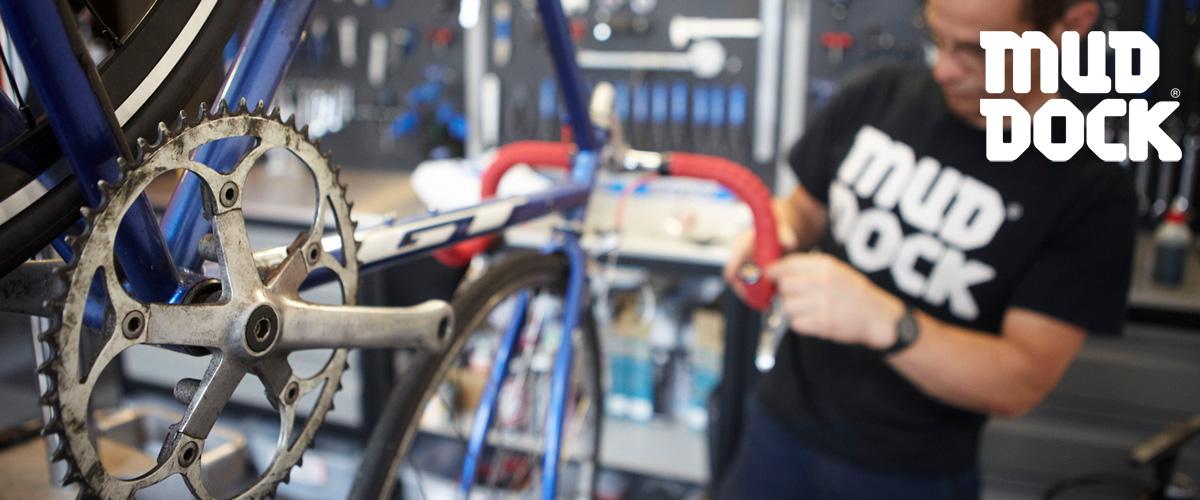 Bike servicing at Mud Dock